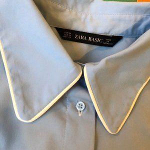 Zara retro pale blue button up